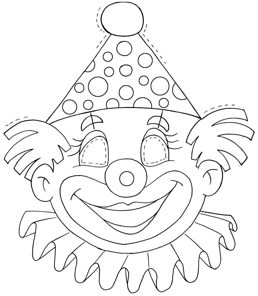 Molde Mascara Palhaco Carnaval